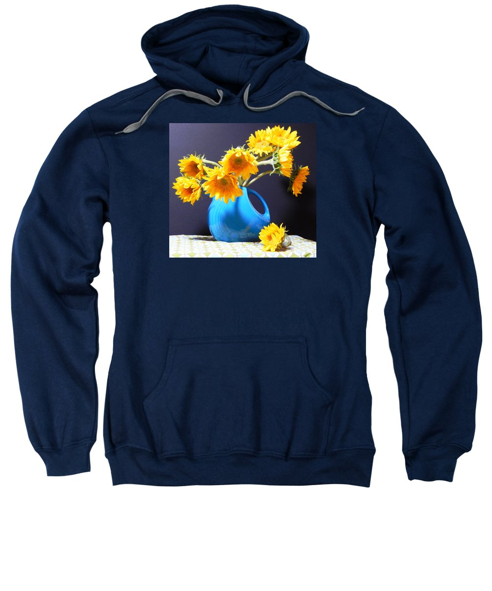 Top Artist Sweatshirt featuring the painting Afternoon Sunflowers by Sharon Nelson-Bianco