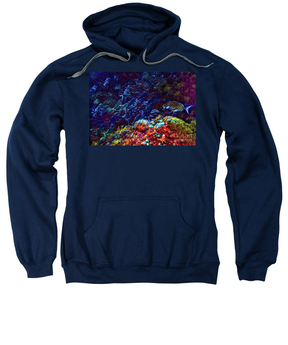 Fish Sweatshirt featuring the mixed media Against The Tide by Callan Art