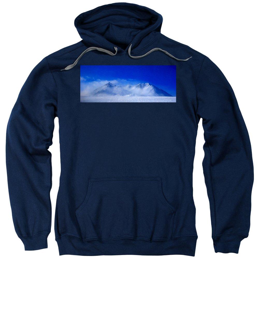 Mountain Snow Sky Blue White Alaska Sweatshirt featuring the photograph Alaska Mountains by Galeria Trompiz