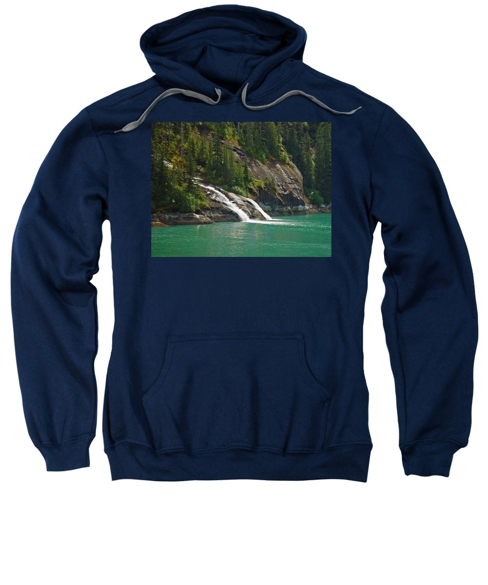 Waterfall Sweatshirt featuring the photograph Alaska Tracy Arm by Heather Coen
