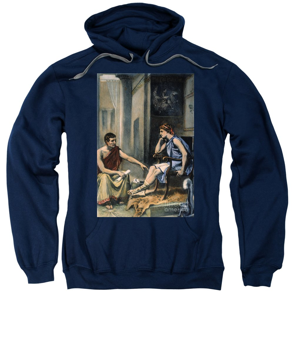 4th Century B.c. Sweatshirt featuring the photograph Alexander & Aristotle by Granger