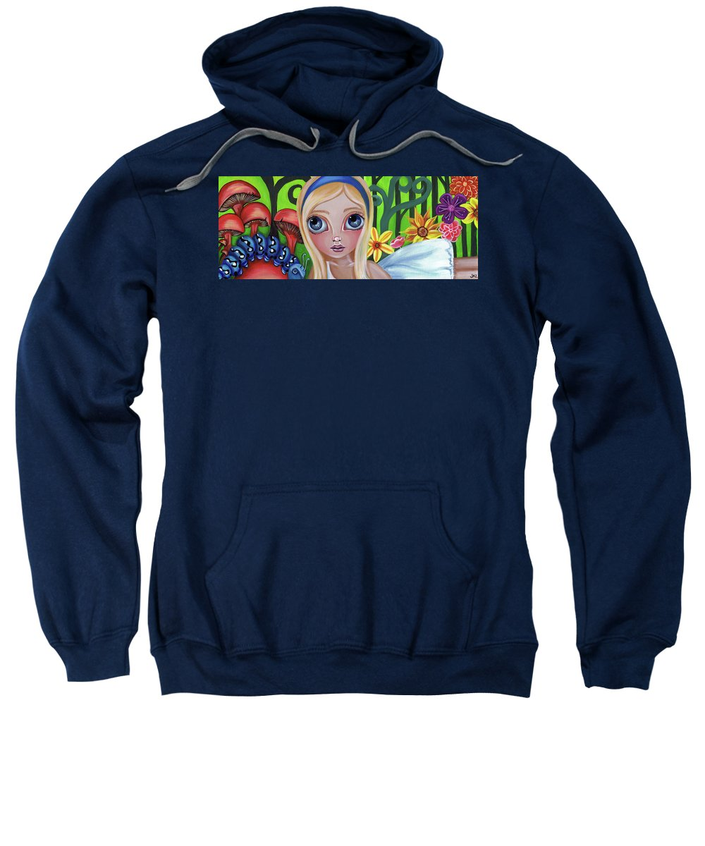 Alice Sweatshirt featuring the painting Alice Meets The Caterpillar by Jaz Higgins