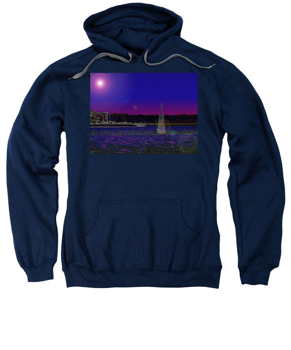 Seattle Sweatshirt featuring the digital art Alki Ghost Sail by Tim Allen