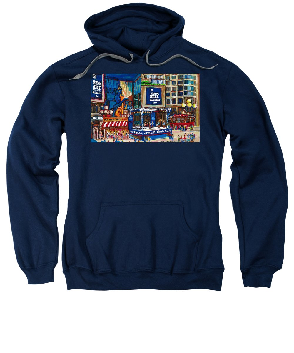 Montreal Sweatshirt featuring the painting All That Jazz by Carole Spandau