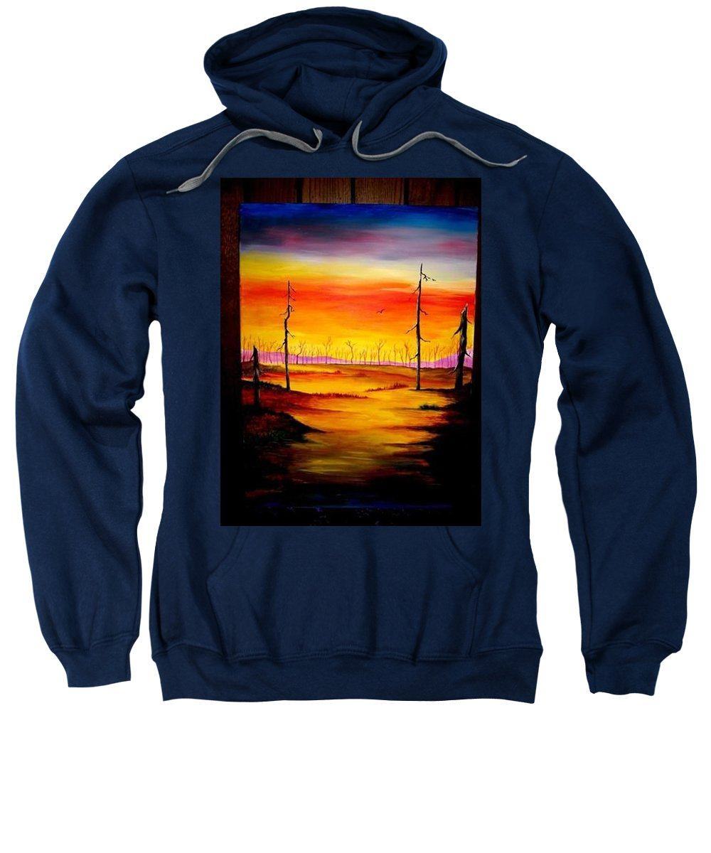 Landscape Sweatshirt featuring the painting Alone by Glory Fraulein Wolfe