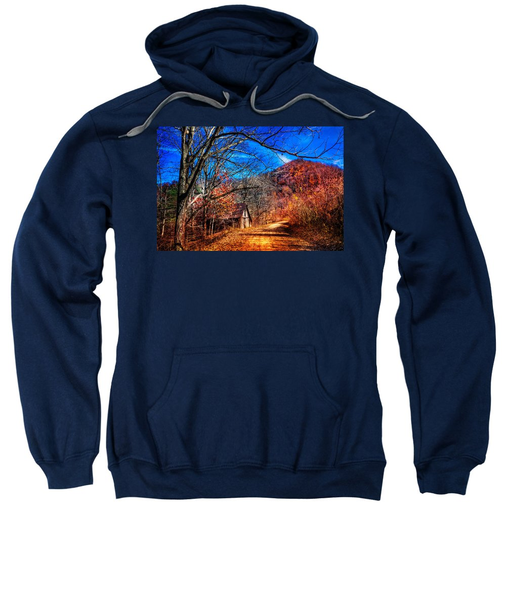 Appalachia Sweatshirt featuring the photograph Along The Country Lane by Debra and Dave Vanderlaan