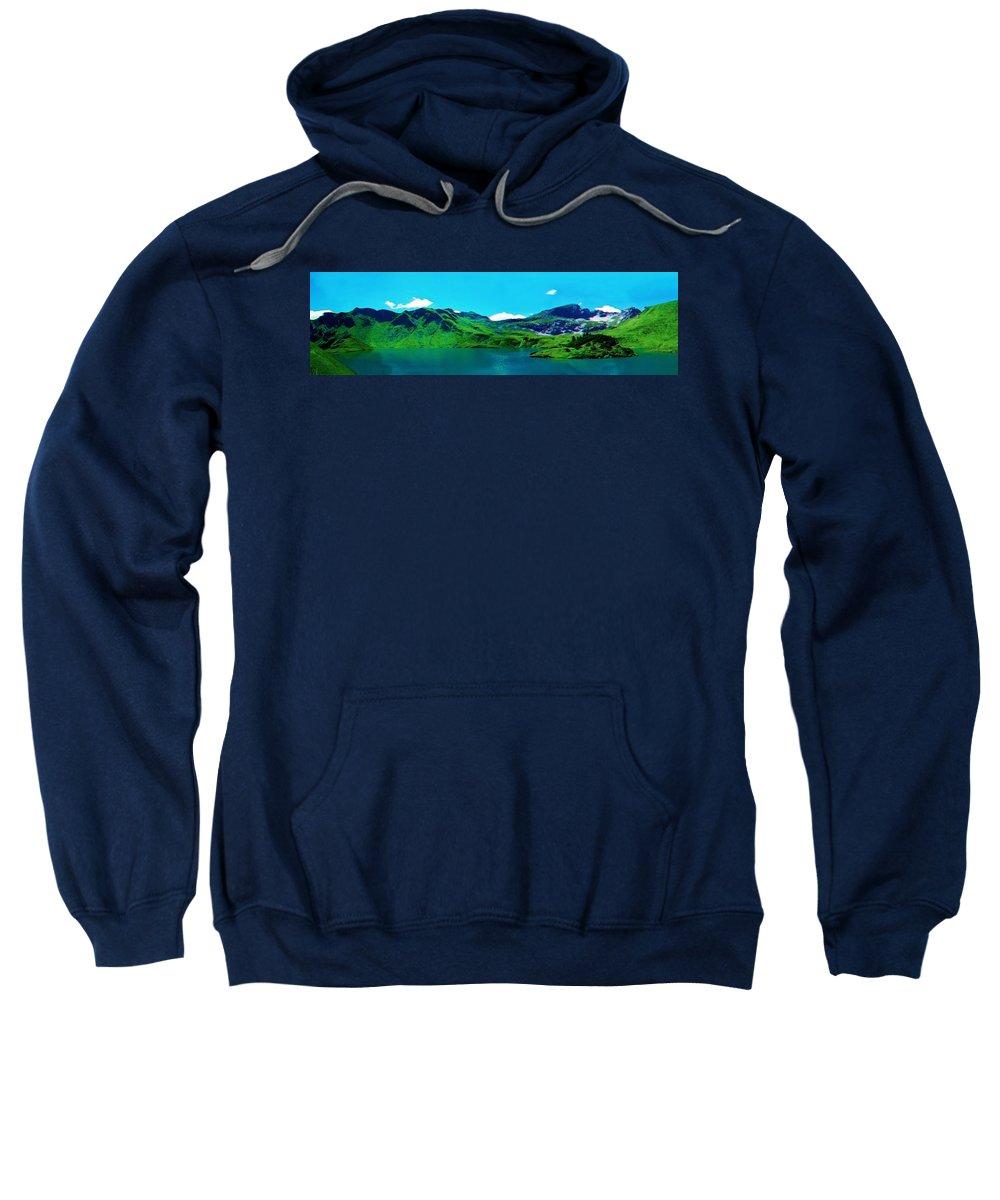 Nature Sweatshirt featuring the painting Alpine Lake, Ca 2017, Byy Adam Asar , In 3d Watercolor by Adam Asar