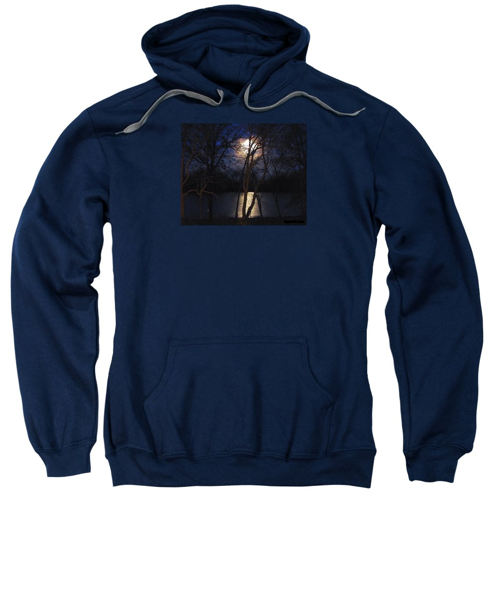 Photography Sweatshirt featuring the photograph Early Morning Moon On Lake by J R  Seymour