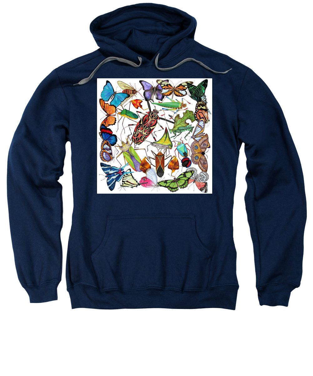 Insects Sweatshirt featuring the painting Amazon Insects by Lucy Arnold