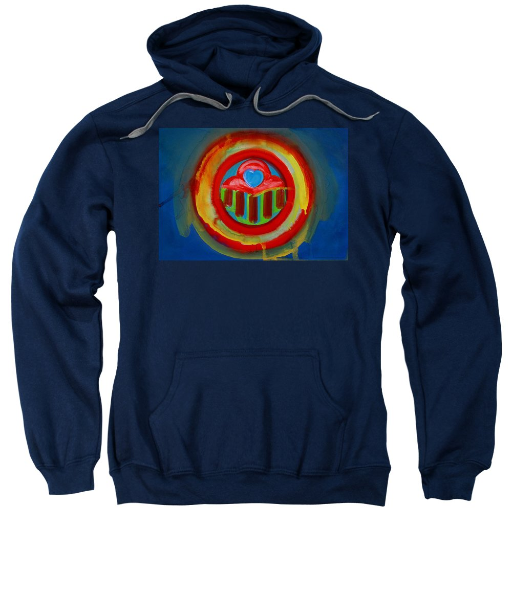 Button Sweatshirt featuring the painting American Love Button by Charles Stuart