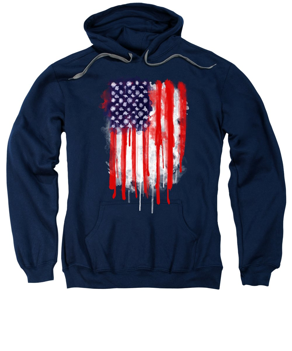 America Sweatshirt featuring the painting American Spatter Flag by Nicklas Gustafsson
