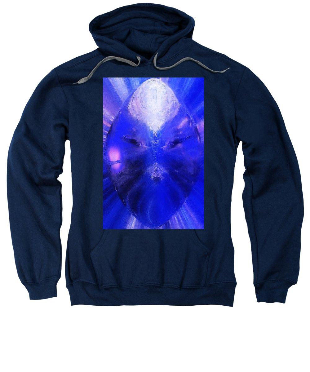 Digital Painting Sweatshirt featuring the digital art An Alien Visage by David Lane