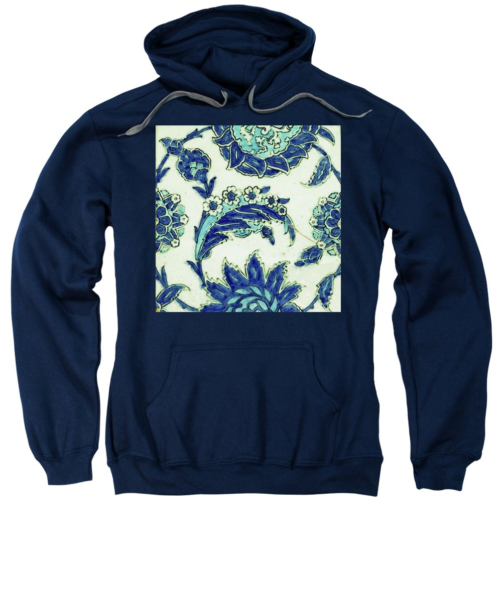 Turkish Sweatshirt featuring the painting An Iznik Blue And White Pottery Tile, Turkey, 17th Century, By Adam Asar, No 18b by Adam Asar