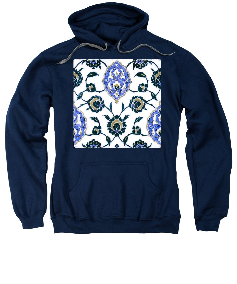 Turkish Sweatshirt featuring the painting An Iznik Polychrome Tile, Turkey, Circa 1575, By Adam Asar, No 23c by Adam Asar