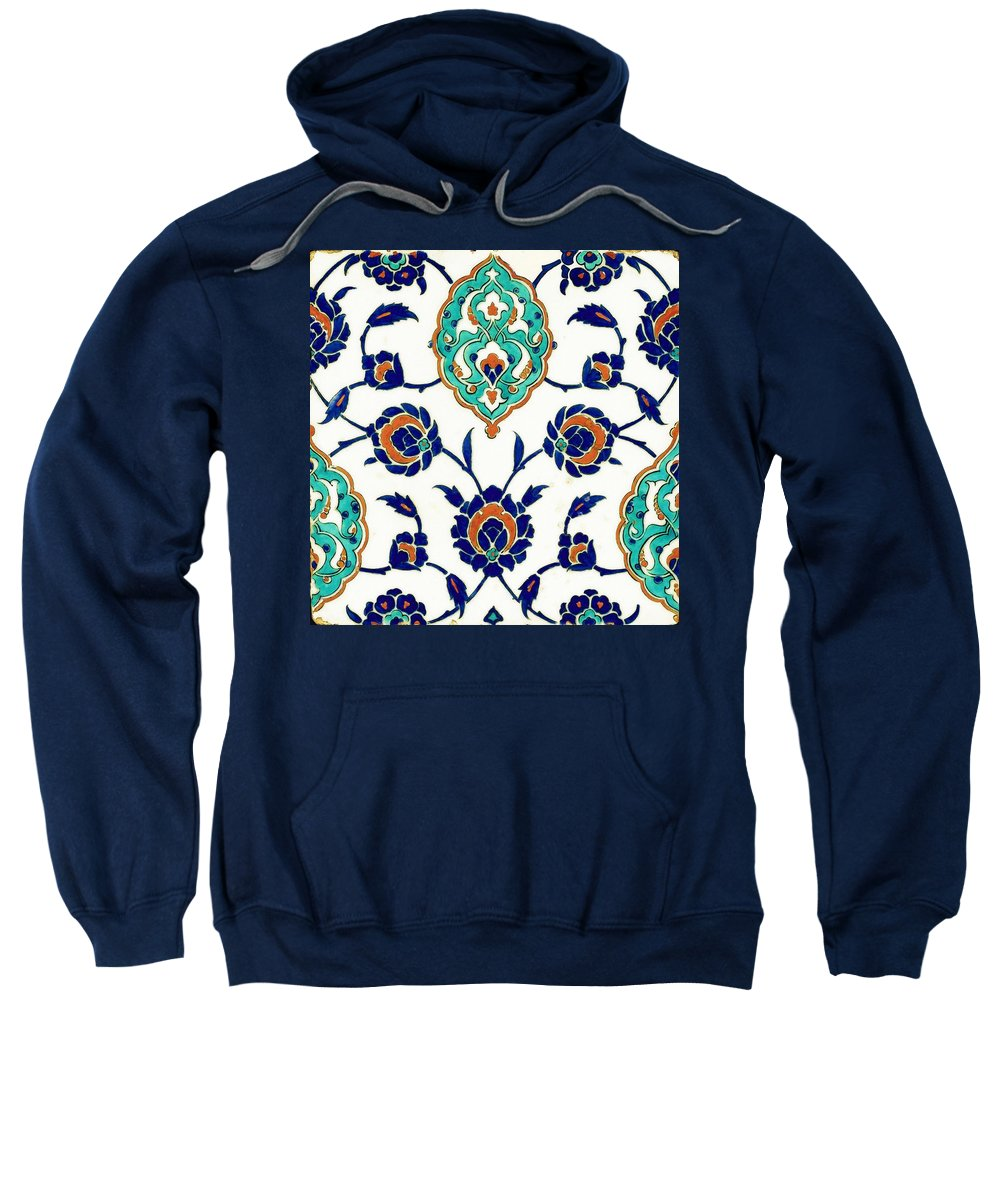 Turkish Sweatshirt featuring the painting An Iznik Polychrome Tile, Turkey, Circa 1575, By Adam Asar, No 23h by Adam Asar