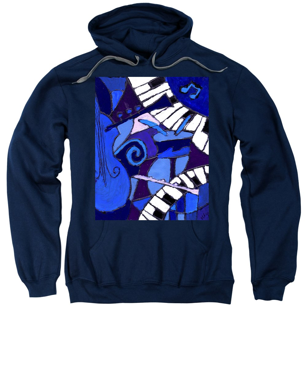 Blues Sweatshirt featuring the painting and All that Jazz 3 by Wayne Potrafka