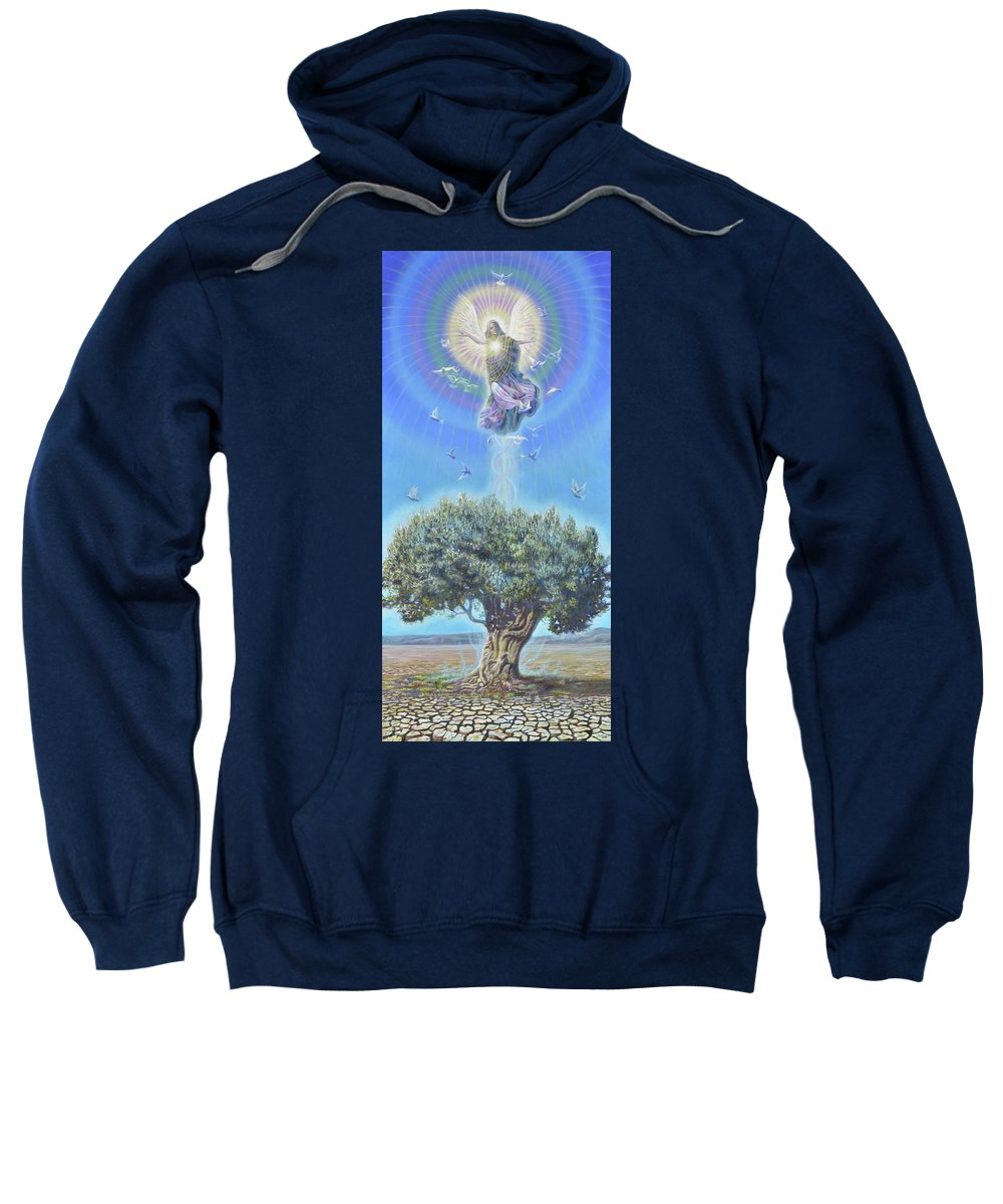 Angel Sweatshirt featuring the painting Angel over the Olive Tree II by Miguel Tio