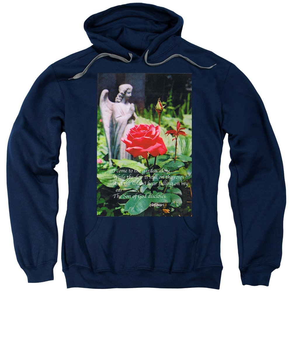 Angel Statute Sweatshirt featuring the photograph Angel With Roses 2 by Seth Weaver