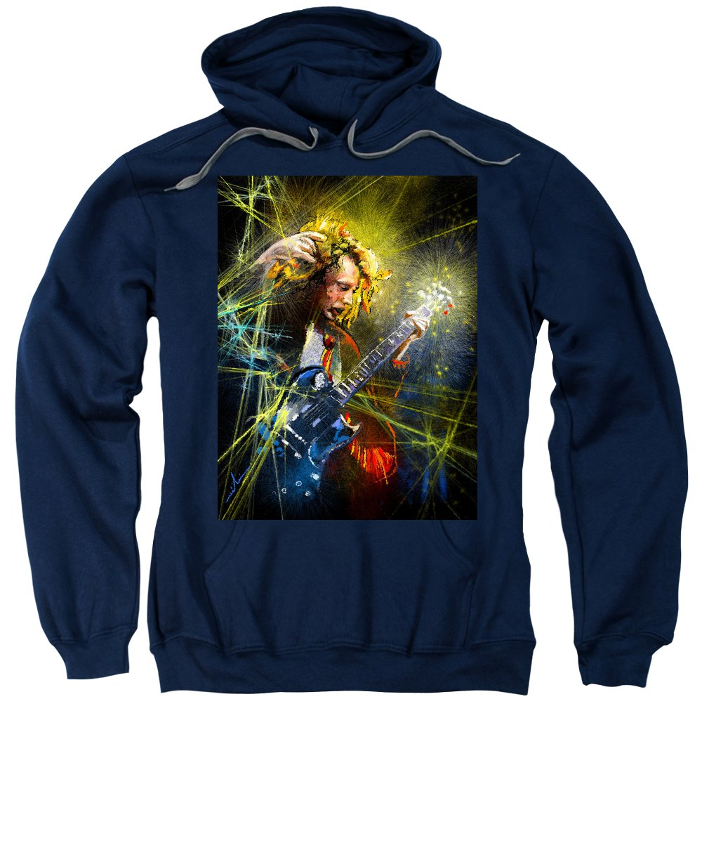 Music Sweatshirt featuring the painting Angus Young by Miki De Goodaboom