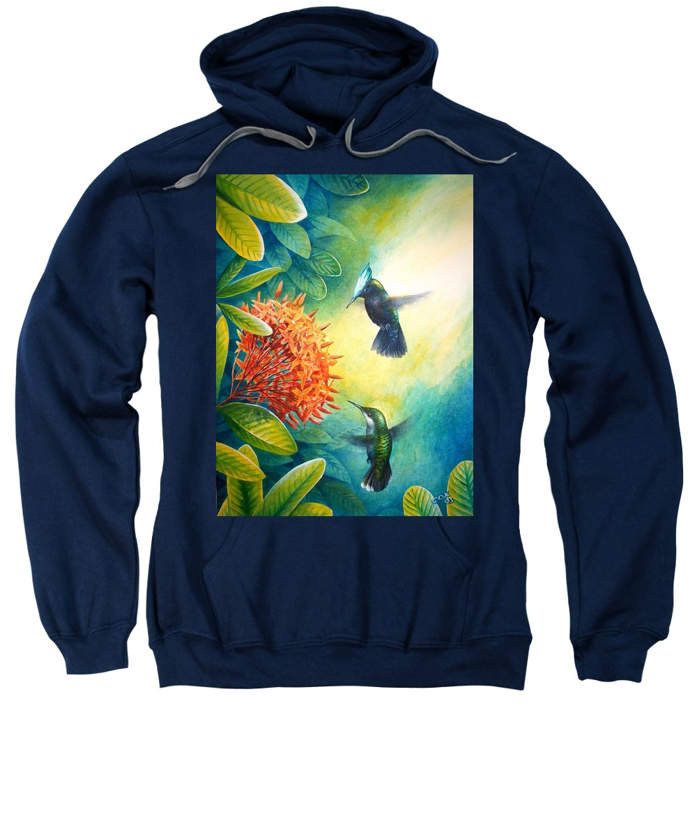 Chris Cox Sweatshirt featuring the painting Antillean Crested Hummingbirds And Ixora by Christopher Cox