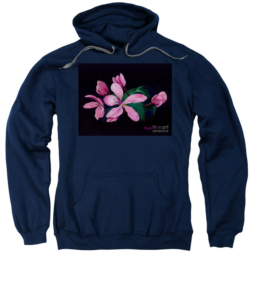 Apple Sweatshirt featuring the pastel Apple Blossoms by Mendy Pedersen