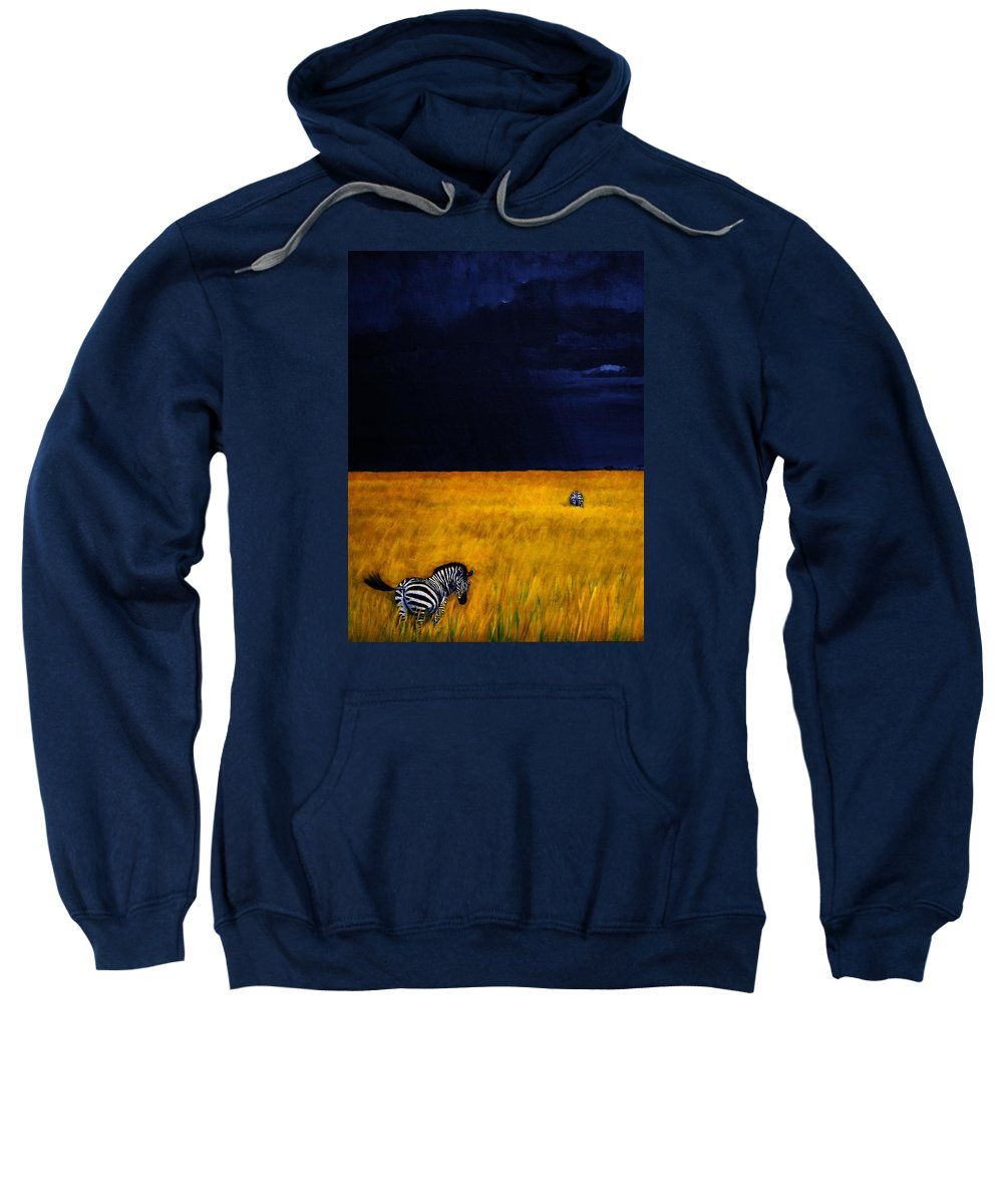African Landscape Zebra Storm Clouds Edith Peterson Watson Scenery Nature Animals Wildlife Sweatshirt featuring the painting Approaching Storm by Edith Peterson-Watson