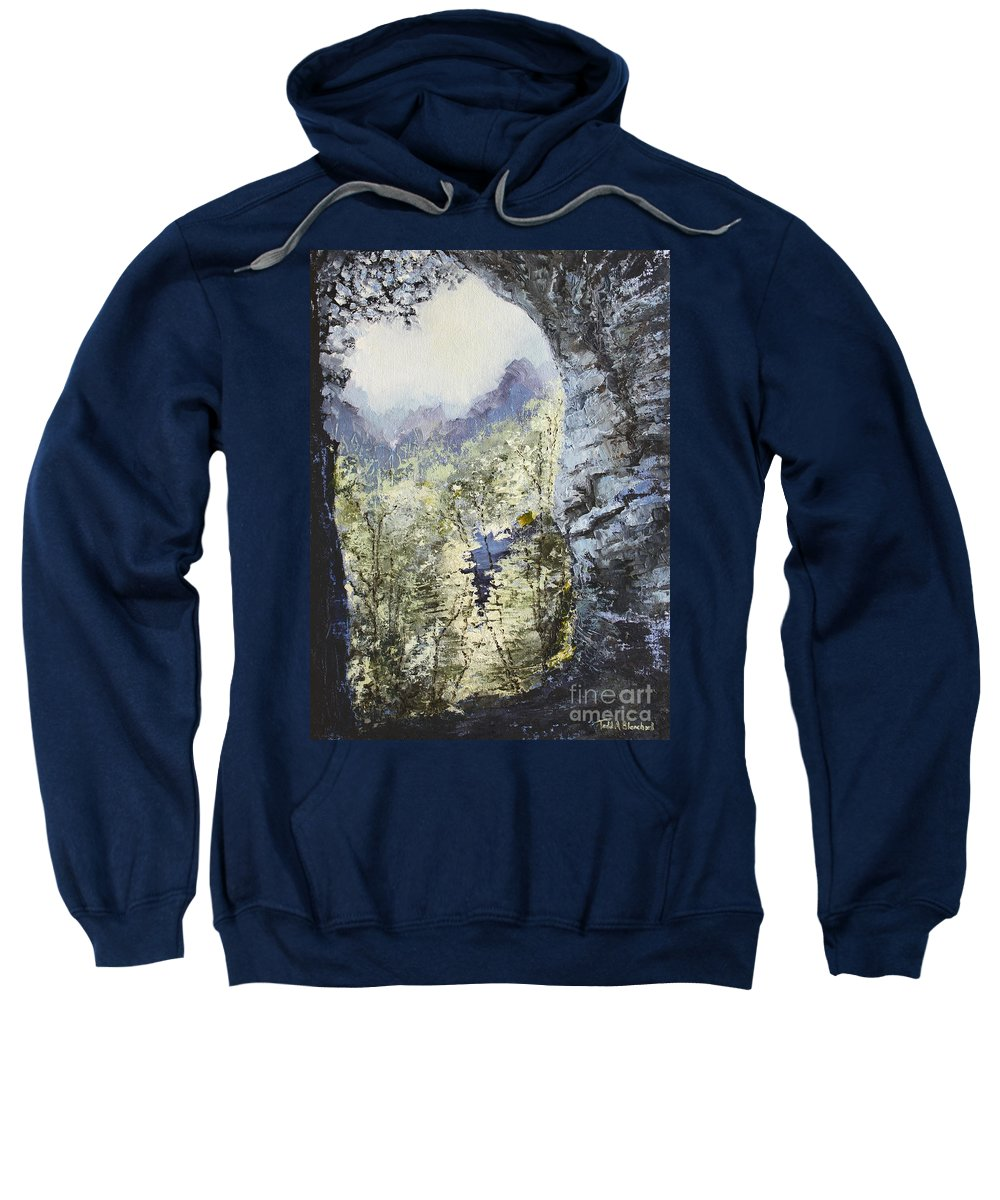 Landscape Sweatshirt featuring the painting Around The Bend by Todd Blanchard