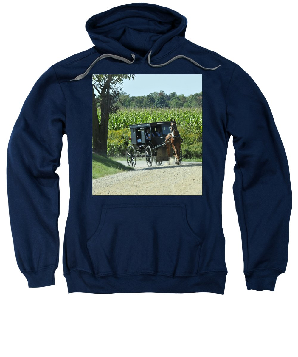 Amish Sweatshirt featuring the photograph Around The Corner by David Arment