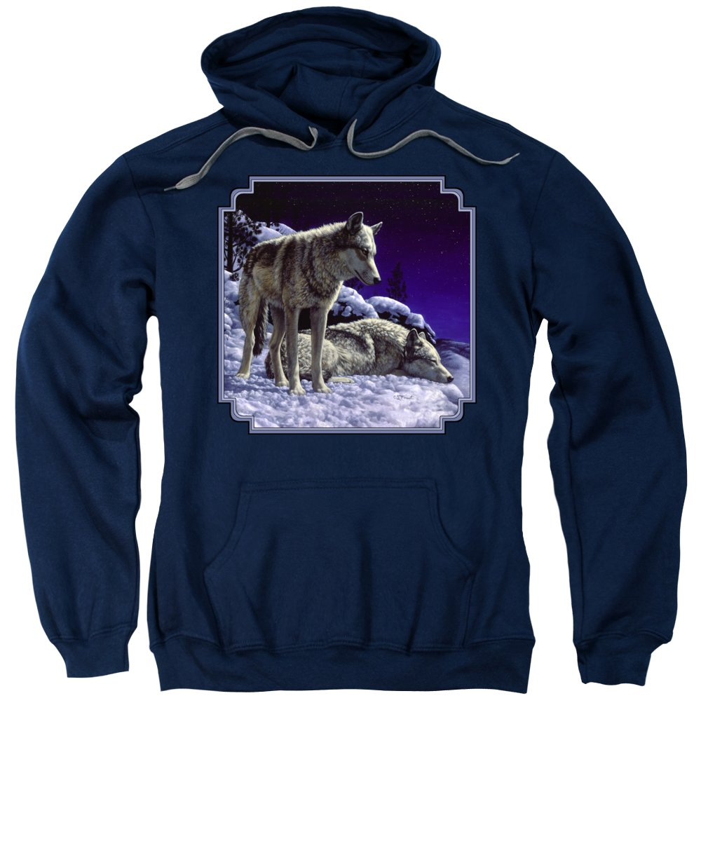 Wolf Sweatshirt featuring the painting Wolf Painting - Night Watch by Crista Forest