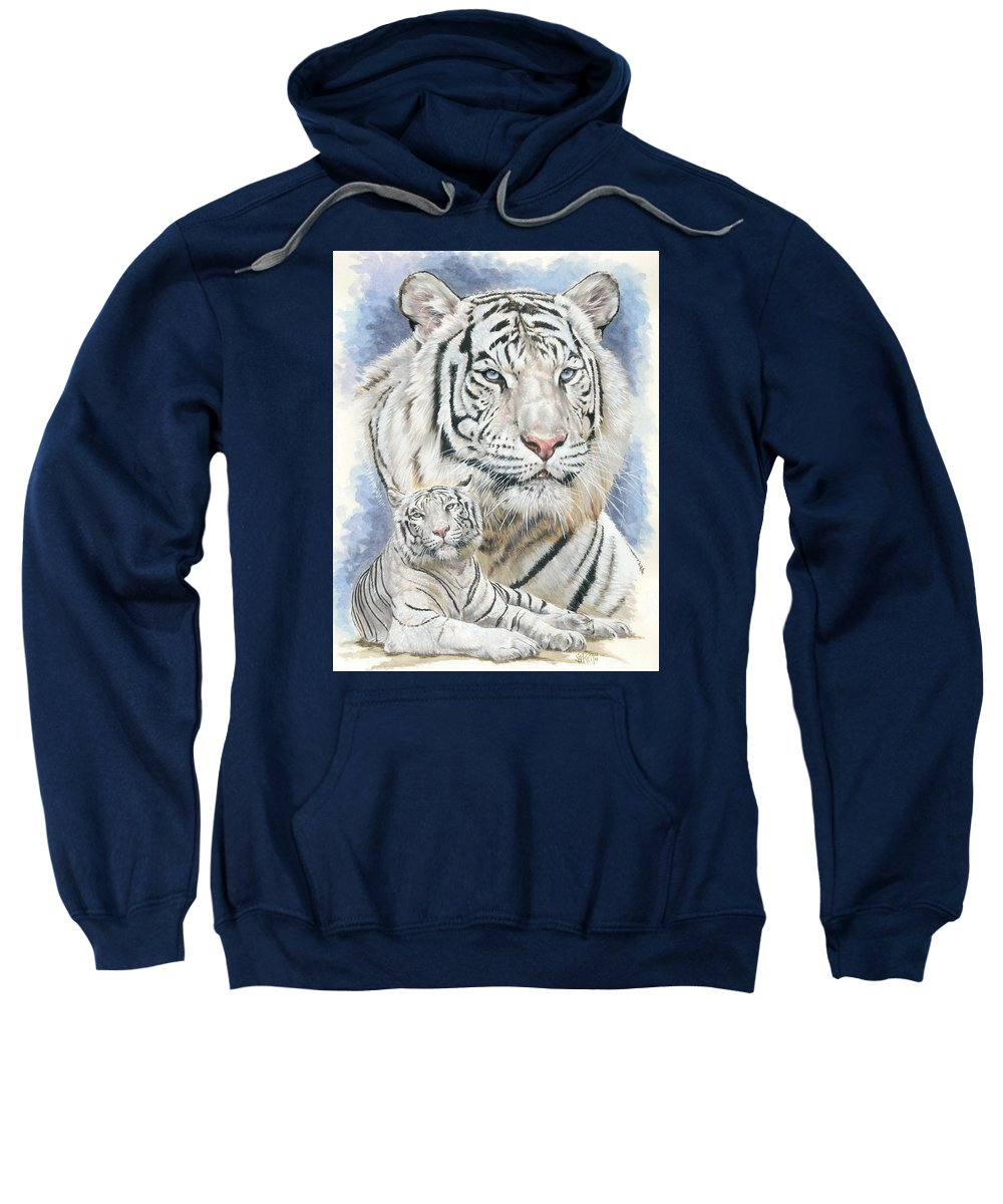 Big Cat Sweatshirt featuring the mixed media Dignity by Barbara Keith