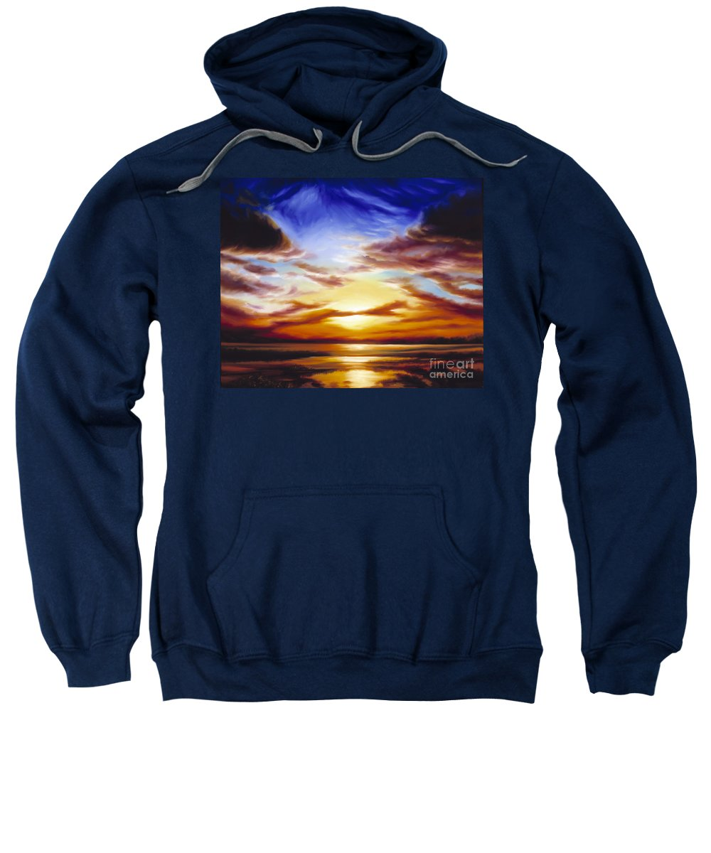 Skyscape Sweatshirt featuring the painting As The Sun Sets by James Christopher Hill