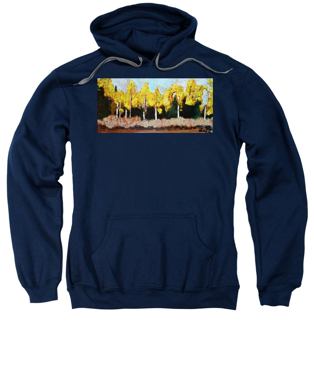 Fall Sweatshirt featuring the painting Aspens by Kurt Hausmann