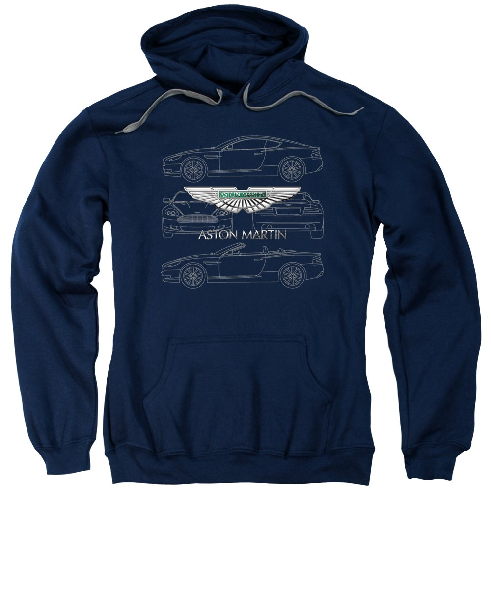 Wheels Of Fortune By Serge Averbukh Sweatshirt featuring the photograph Aston Martin 3 D Badge Over Aston Martin D B 9 Blueprint by Serge Averbukh