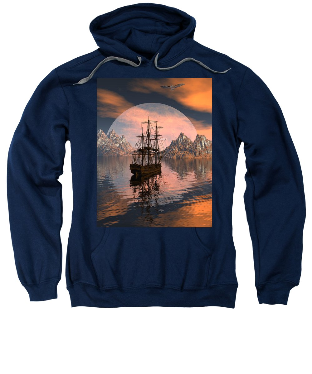 Bryce 3d Digital Fantasy Scifi Windjammer Sailing Sweatshirt featuring the digital art At Anchor by Claude McCoy