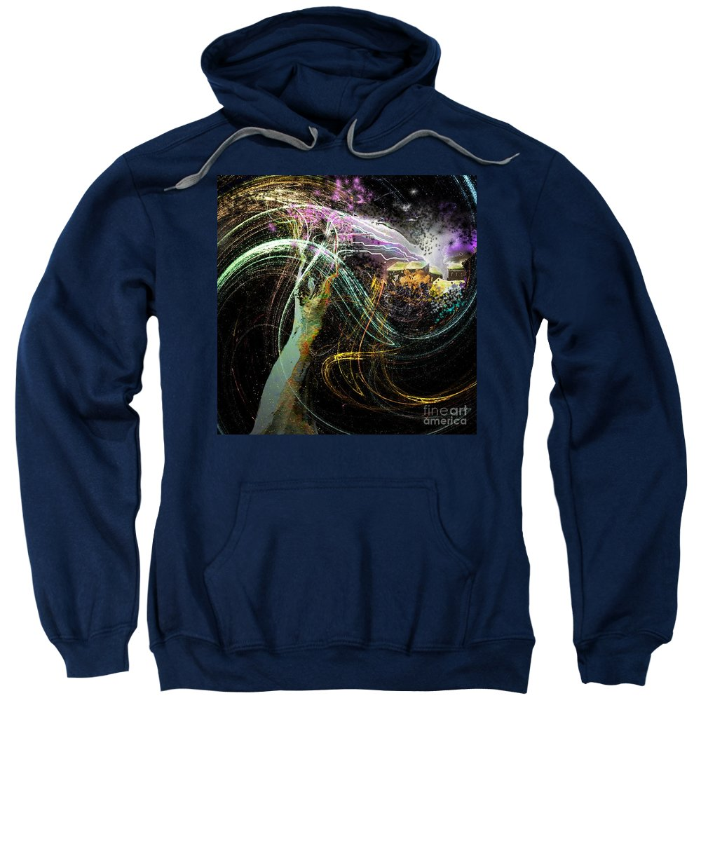 Fantasy Sweatshirt featuring the painting At The End Of The Cosmos by Miki De Goodaboom