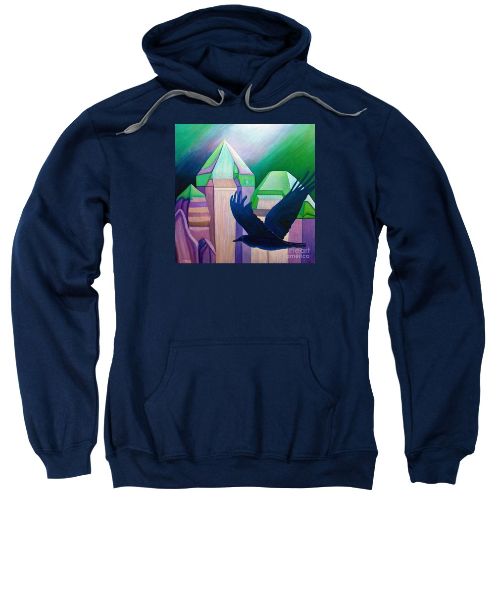 Crystals Sweatshirt featuring the painting Atlantis by Brian Commerford