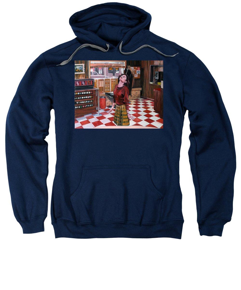Twin Peaks Sweatshirt featuring the painting Audrey Horne Twin Peaks Resident by Kevyn