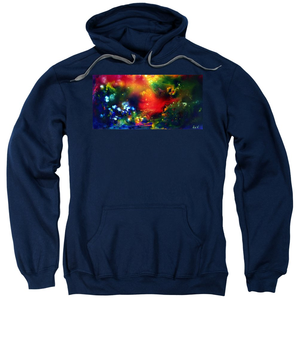 Abstract Sweatshirt featuring the painting Aurora Borealis by Luiza Vizoli