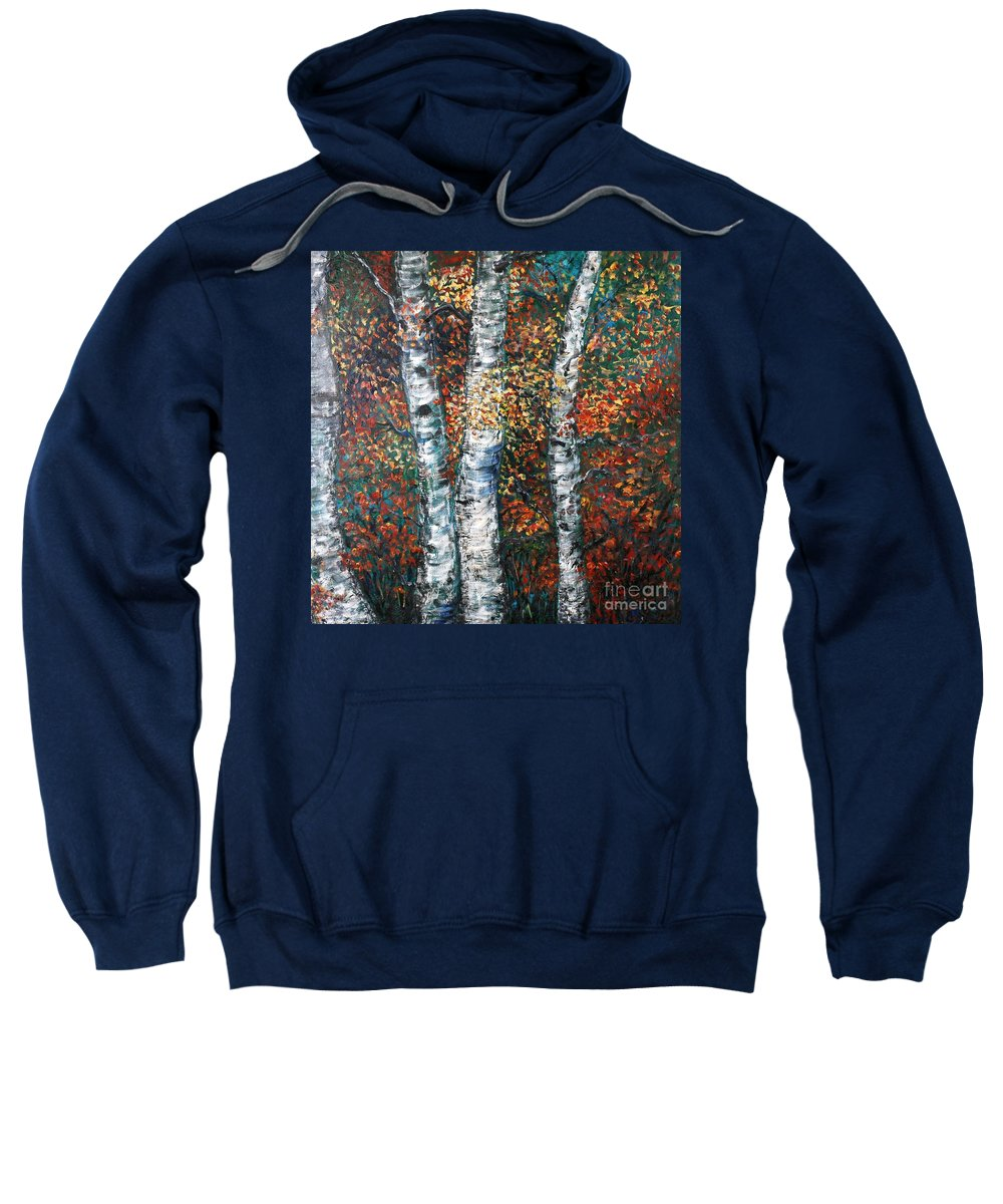 Birch Sweatshirt featuring the painting Autumn Birch by Nadine Rippelmeyer