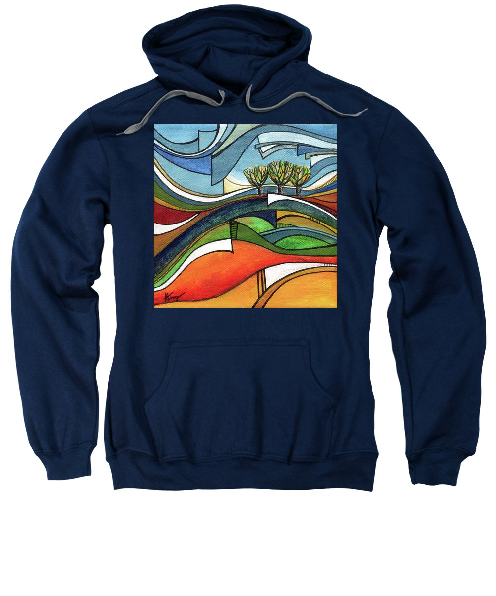Abstract Landscape Sweatshirt featuring the painting Autumn breeze by Aniko Hencz