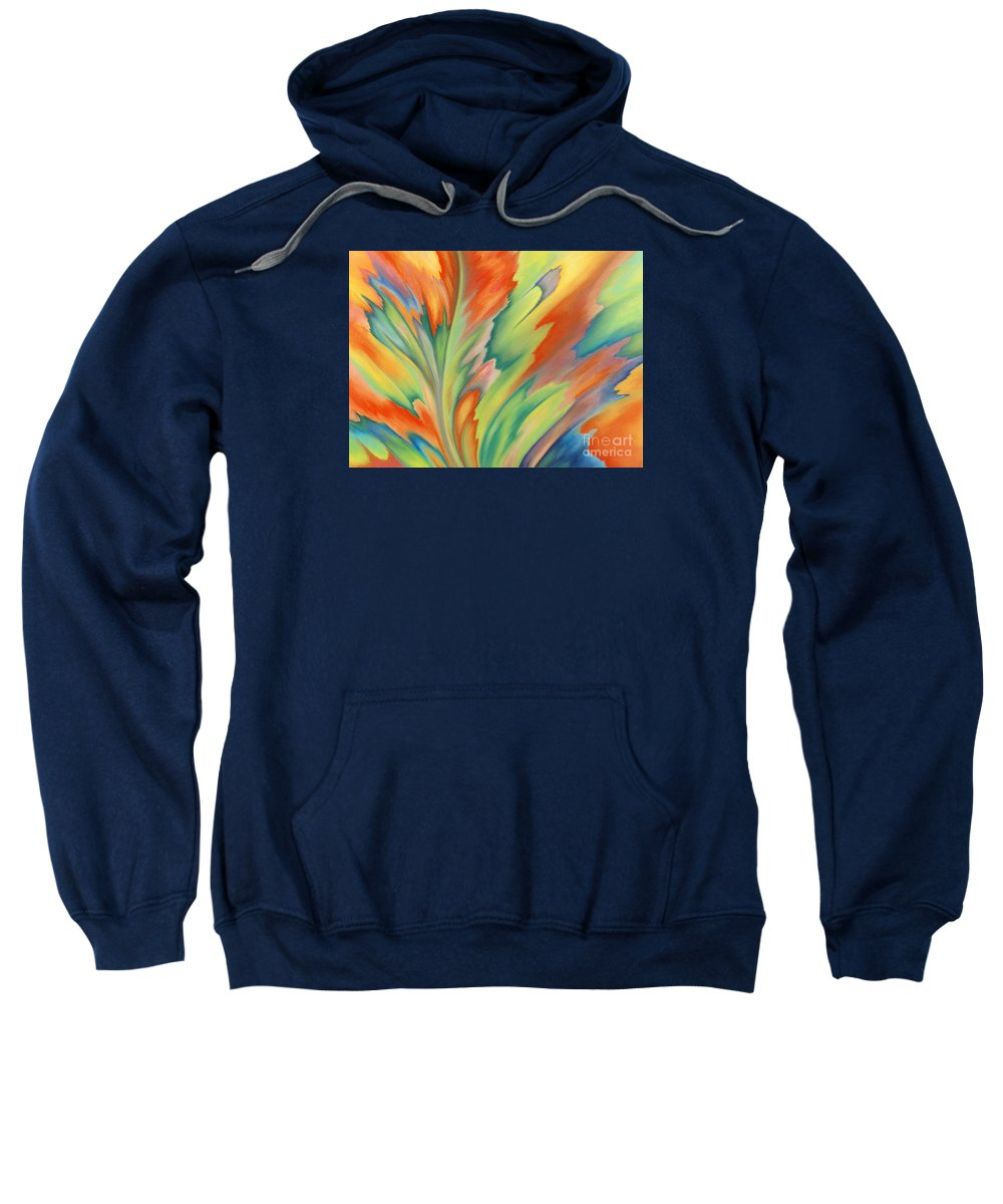 Abstract Sweatshirt featuring the painting Autumn Flame by Lucy Arnold