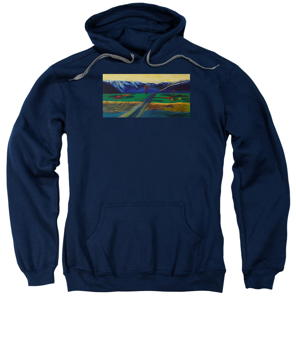 Landscape Sweatshirt featuring the painting Autumn light. by Jarle Rosseland