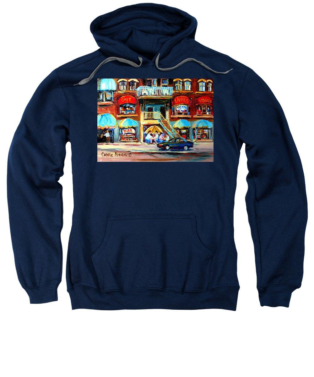 Cafes Sweatshirt featuring the painting Avenue Du Parc Cafes by Carole Spandau