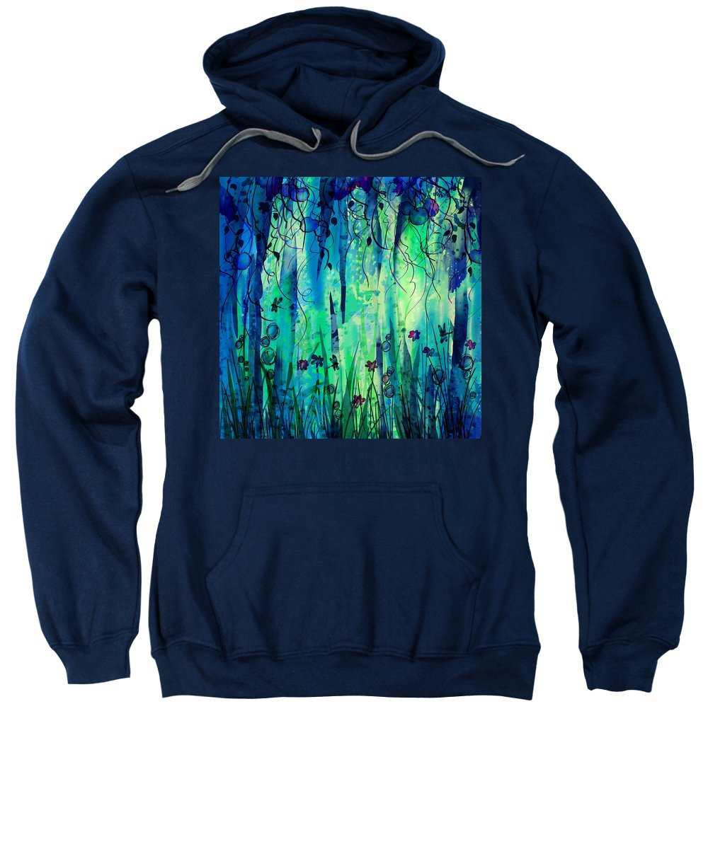 Abstract Sweatshirt featuring the digital art Backyard Dreamer by William Russell Nowicki