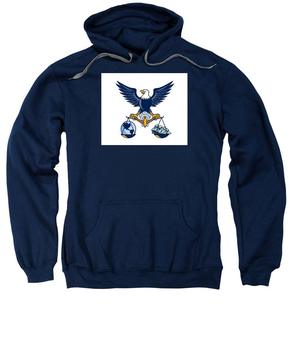 American Eagle Sweatshirt featuring the digital art Bald Eagle Hold Scales Earth Money Retro by Aloysius Patrimonio