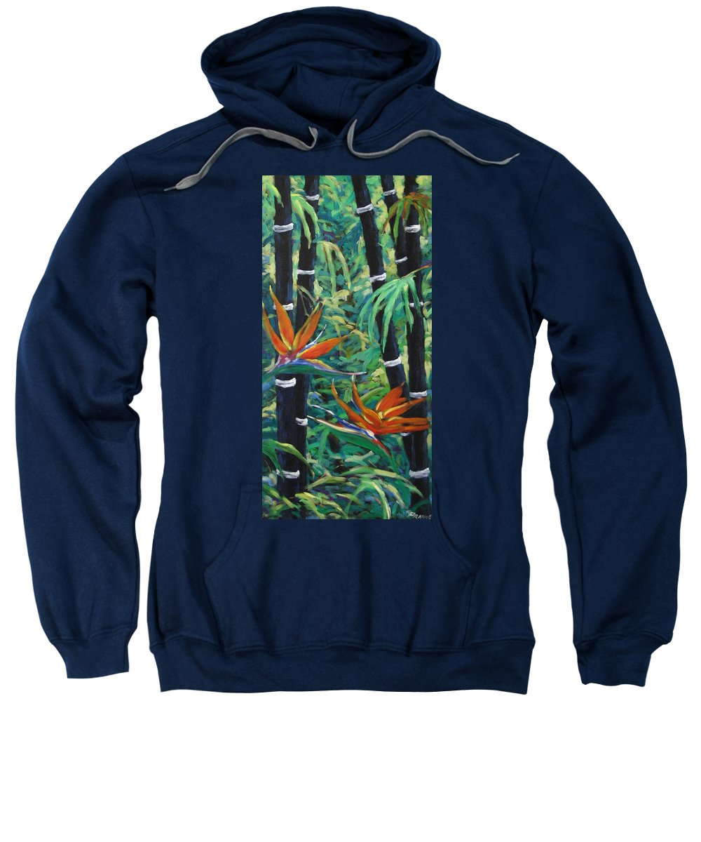 Bamboo Sweatshirt featuring the painting Bamboo And Birds Of Paradise by Richard T Pranke