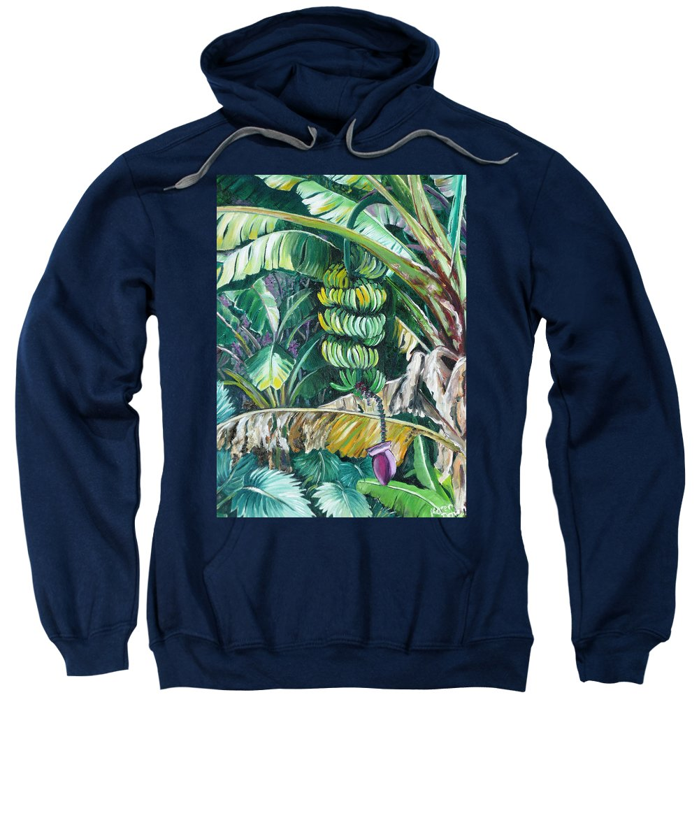 Caribbean Painting Bananas Trees P Painting Fruit Painting Tropical Painting Sweatshirt featuring the painting Bananas by Karin Dawn Kelshall- Best