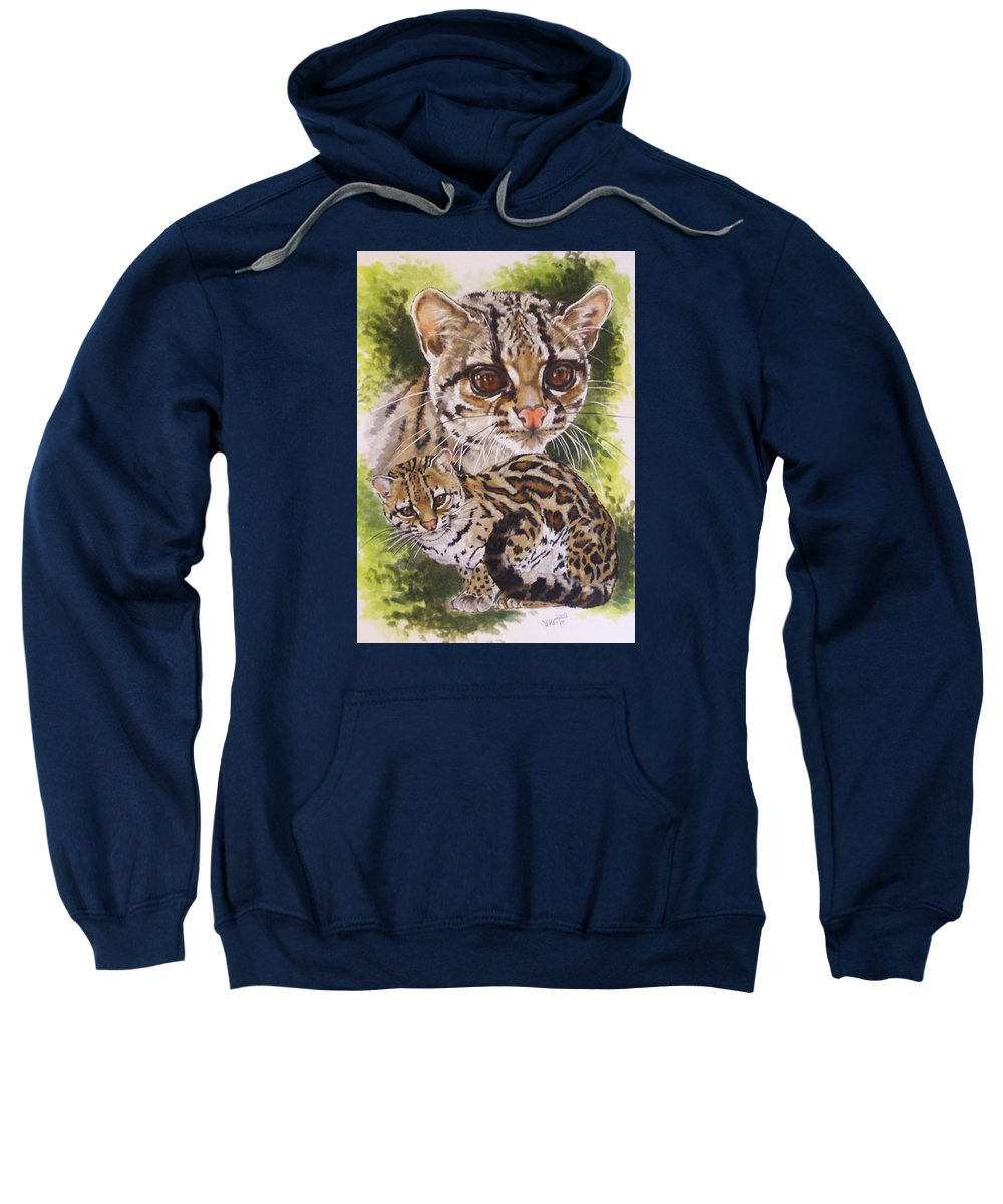 Margay Sweatshirt featuring the mixed media Bantam by Barbara Keith