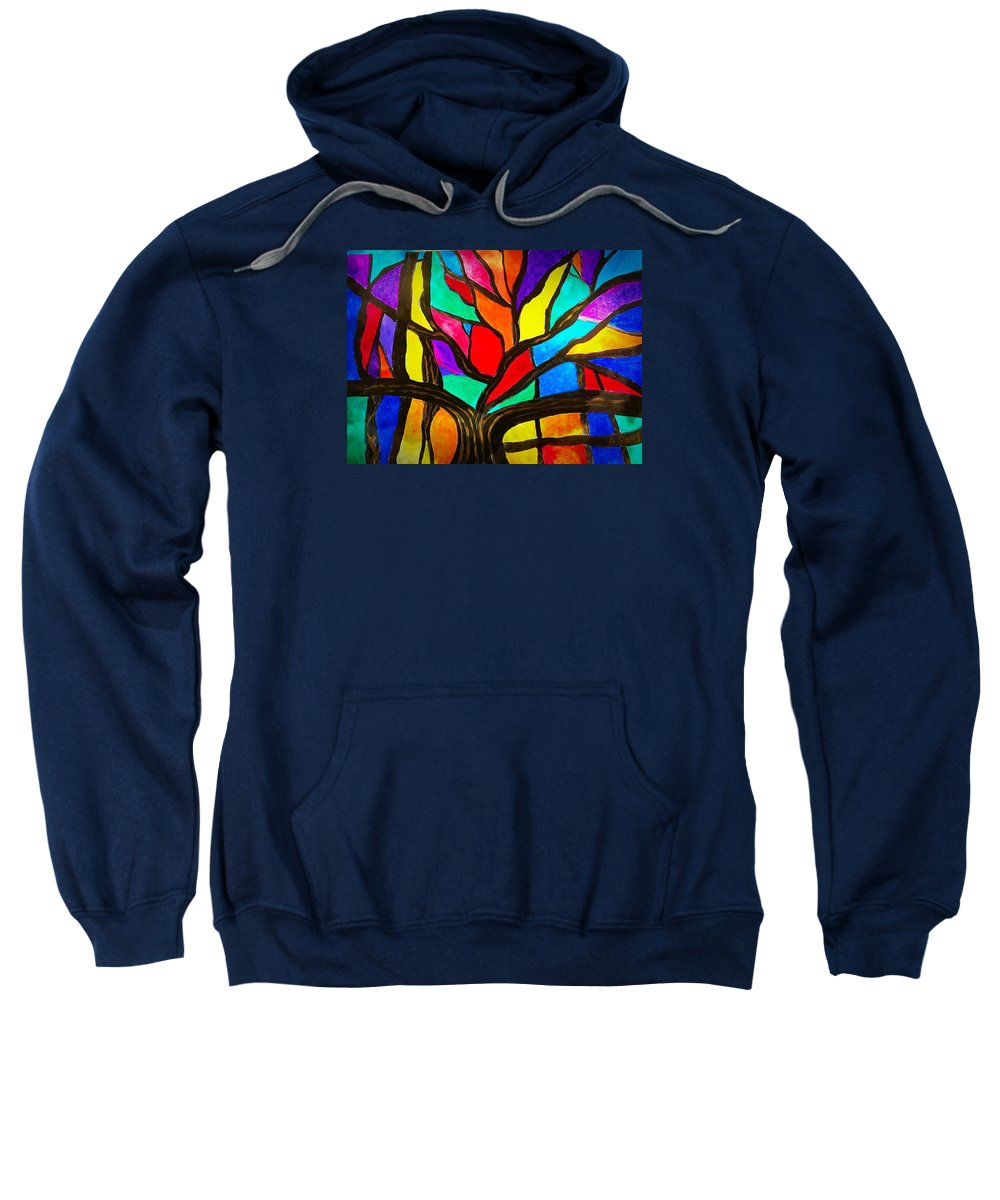 Banyan Tree Sweatshirt featuring the painting Banyan Tree Abstract by Anne Sands