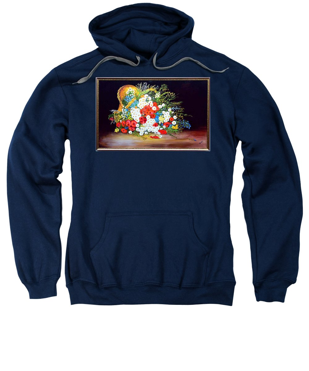Summer Sweatshirt featuring the painting Basket With Summer Flowers by Helmut Rottler